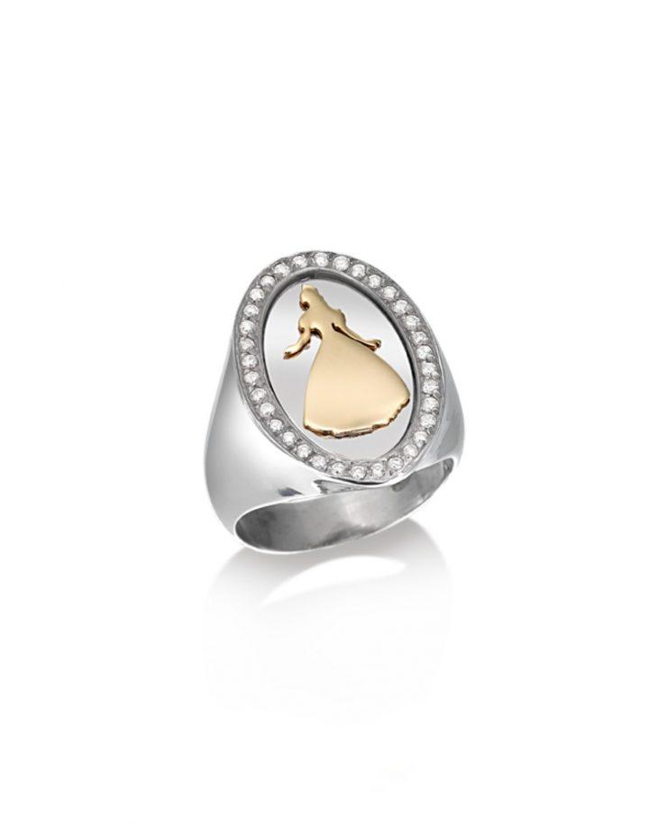 loroetu, anello chevalier, argento oro e diamanti, chevalier ring, silver gold and diamonds