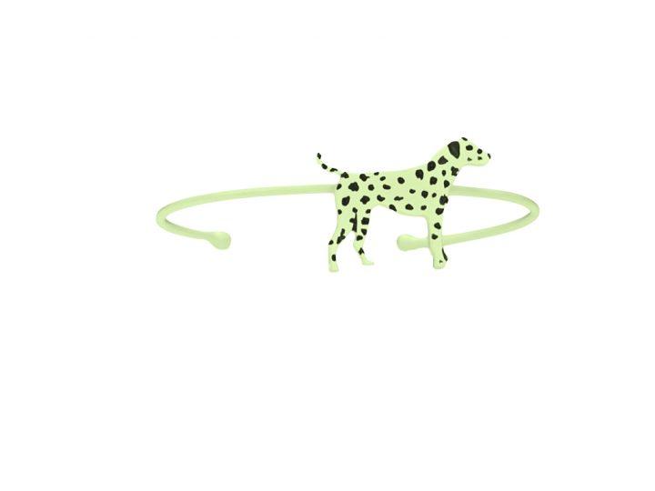 loroetu, bracciale rigido, dalmata verde, green bagle with dalmatian