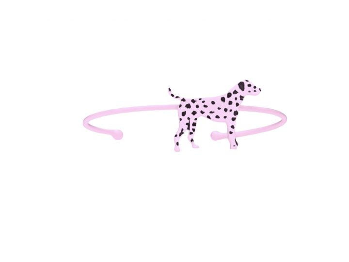 loroetu, bracciale rigido, dalmata, lilla, lilac bagle with dalmatian