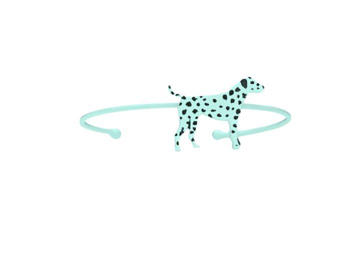 loroetu, bracciale rigido, dalmata turchese, turquoise bagle with dalmatian
