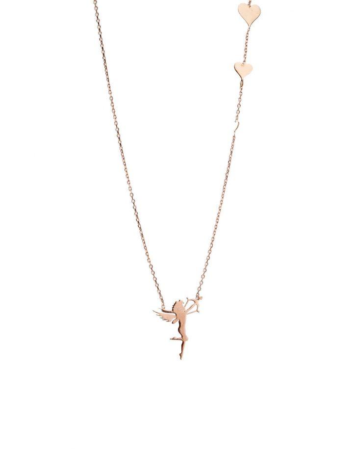 loroetu, cupid rose gold necklace, collana oro rosa con cupido