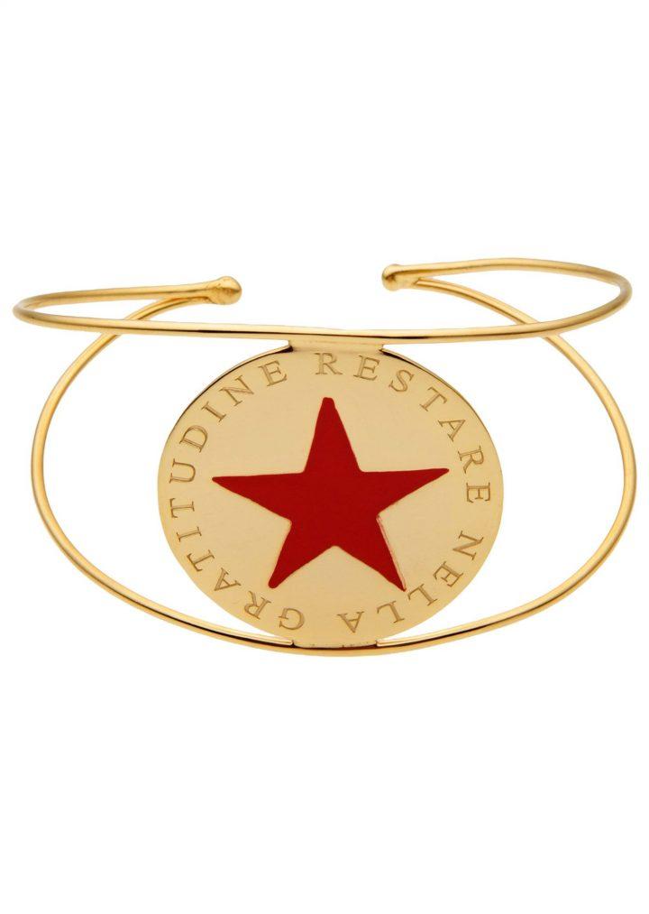 loroetu, bracciale rigido oro con stella rossa, gold bangle with red star
