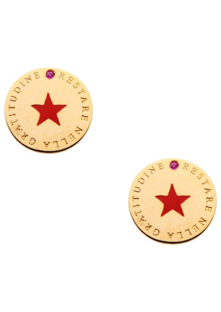 loroetu, orecchini tondi con stella rossa scritta e tormalina, earrings with red star and tormaline