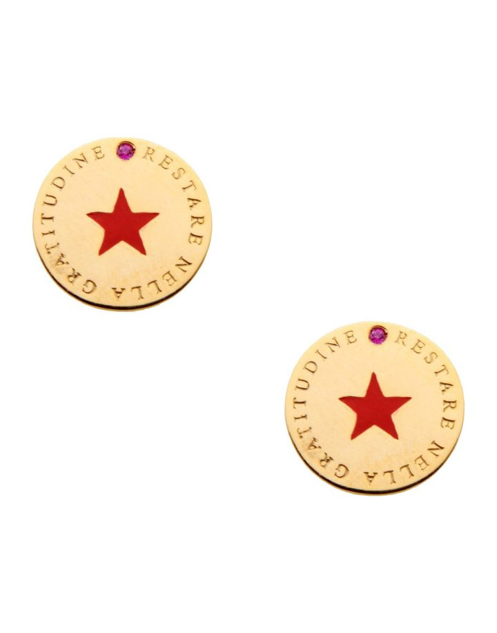 loroetu, orecchini tondi con stella rossa scritta e tormalina, earrings with red star and tormaline
