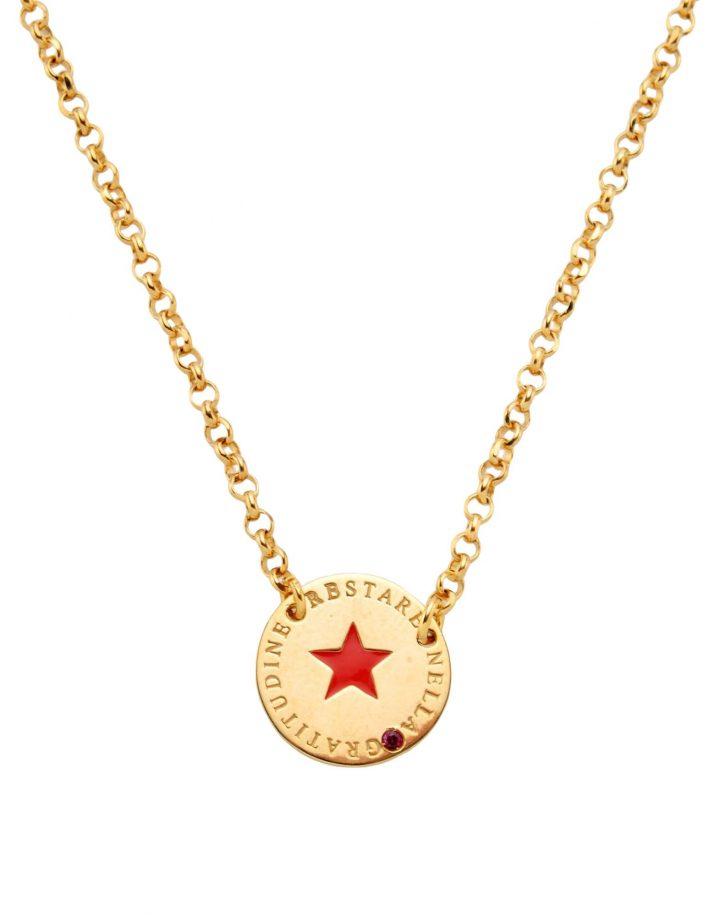 loroetu, collana oro, ciondolo tondo con stella rossa, gold necklace, round pendant with red star