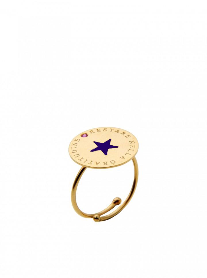 loroetu, anello oro con stella blu, gold ring with blue star