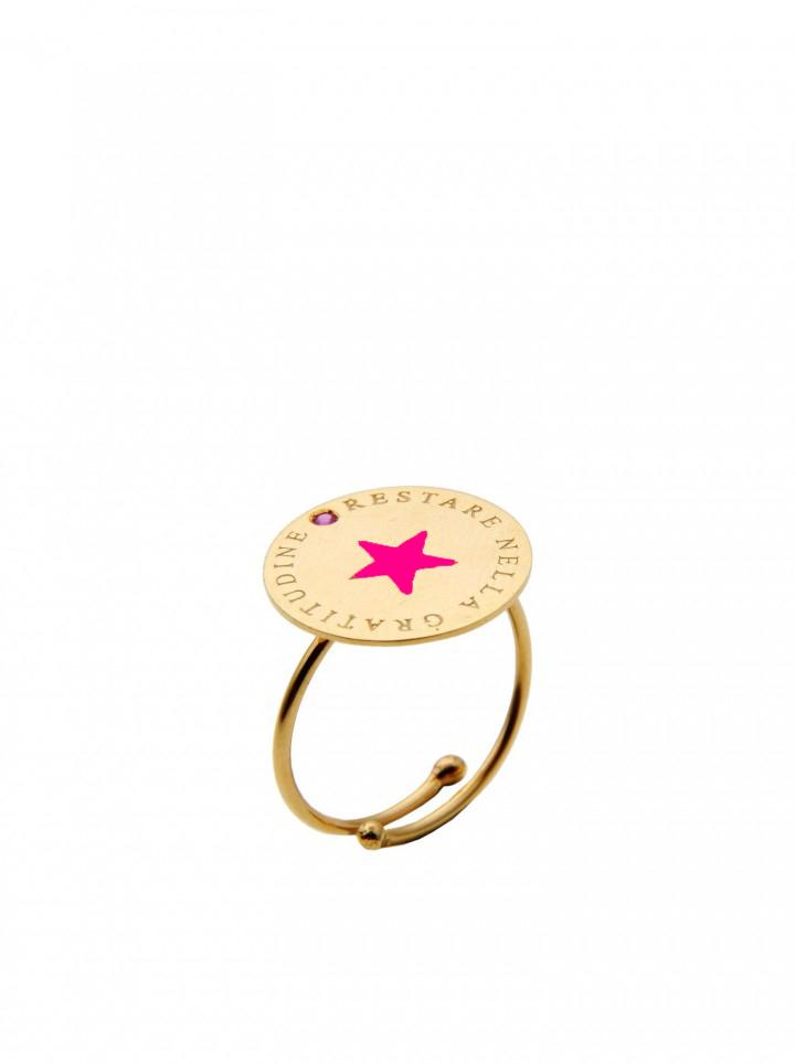 loroetu, anello oro con stella fucsia, gold ring with fuchsia star