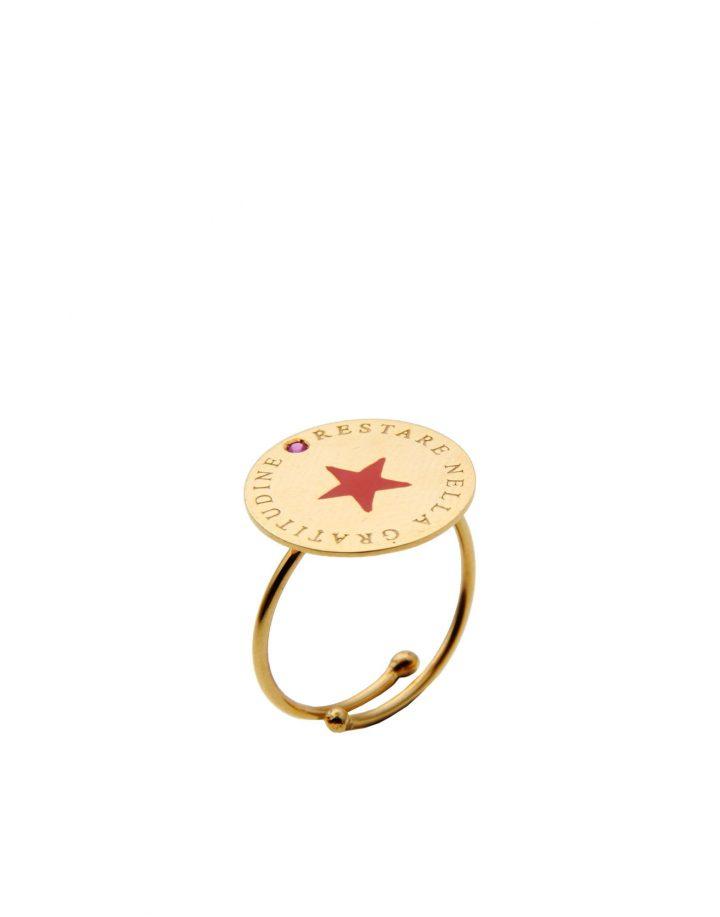 loroetu, anello oro con stella rossa, gold ring with red star