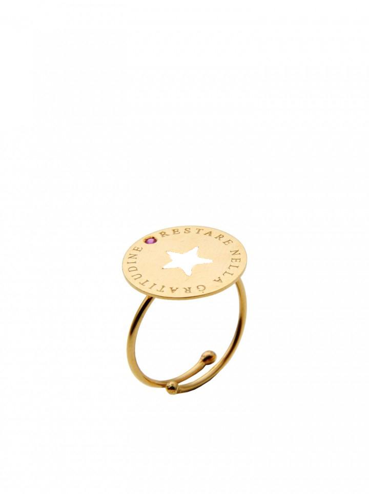 loroetu, anello oro con stella bianca, gold ring with white star