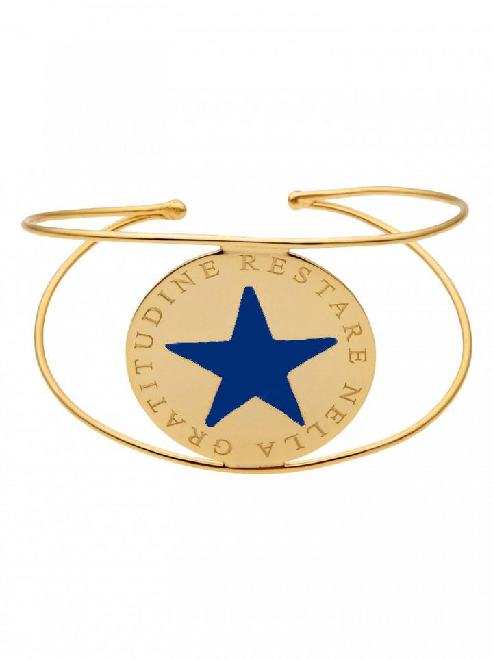 loroetu, bracciale rigido oro stella blu, blue star gold bangle