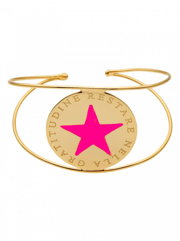 loroetu, bracciale rigido oro stella fucsia, fuchsia star gold bangle