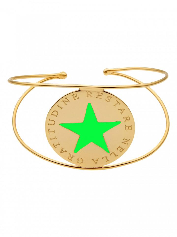 loroetu, bracciale rigido oro stella verde, green star gold bangle