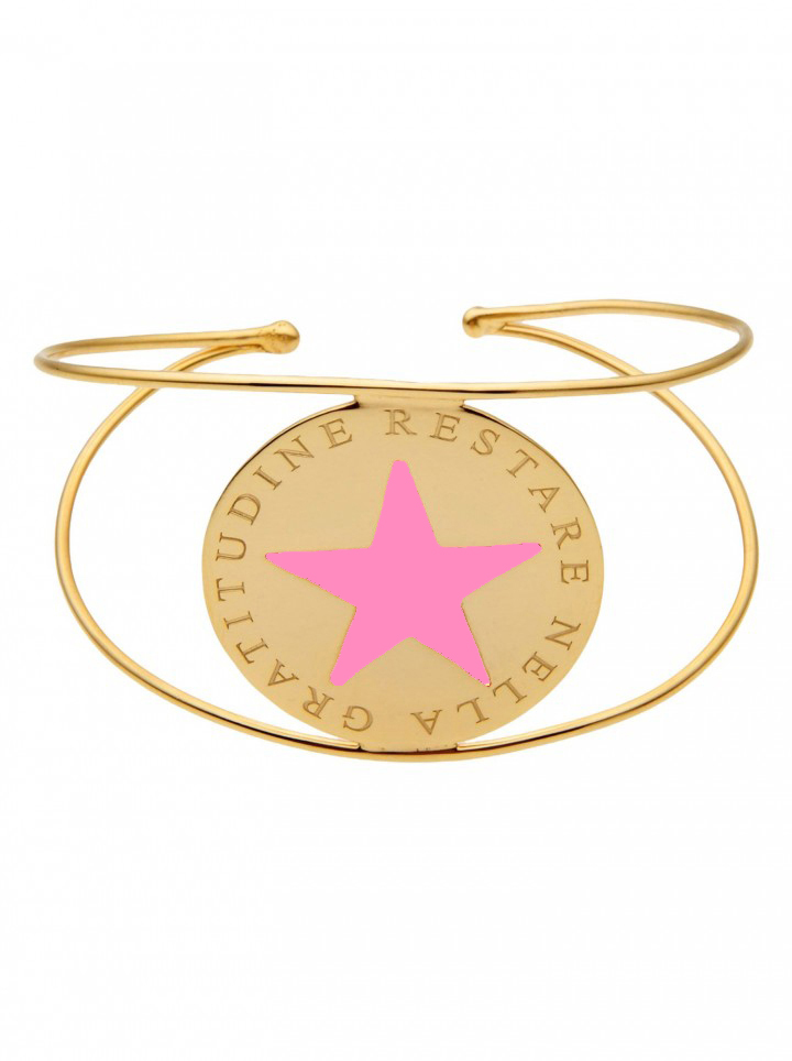 loroetu, bracciale rigido oro stella rosa, pink star gold bangle
