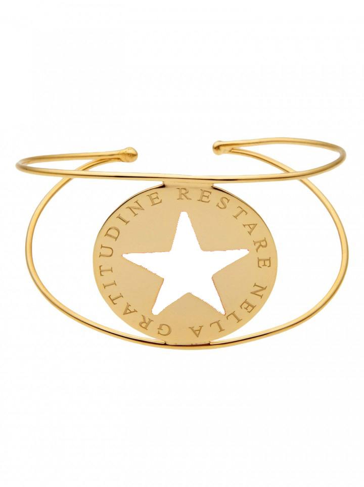 loroetu, bracciale rigido oro stella bianca, white star gold bangle