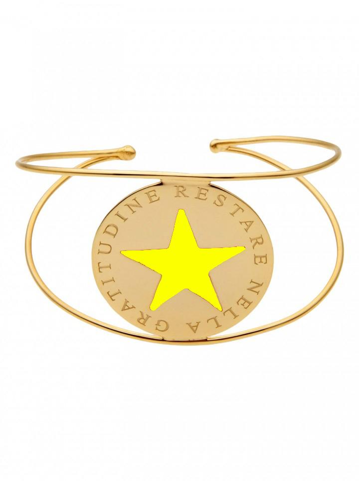 loroetu, bracciale rigido oro stella giallo, yellow star gold bangle