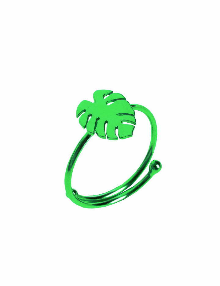 loroetu, green monstera ring, anello monstera verde, foglia tropicale