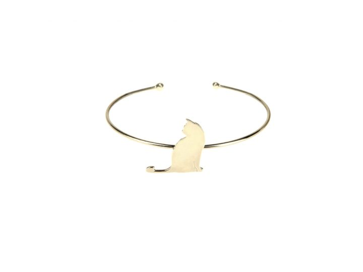 loroetu, bracciale rigido gatto oro, cat bangle gold