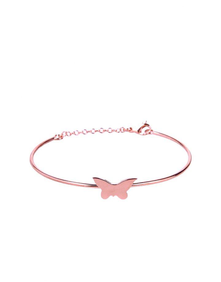 loroetu, bracciale rigido oro rosa con farfalla, butterfly rose gold bangle