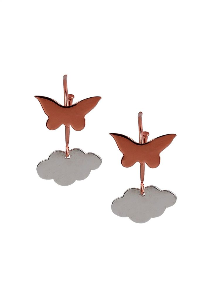 loroetu, orecchini farfalla rossa e nuvola rodio, red butterfly and rhodium cloud earrings