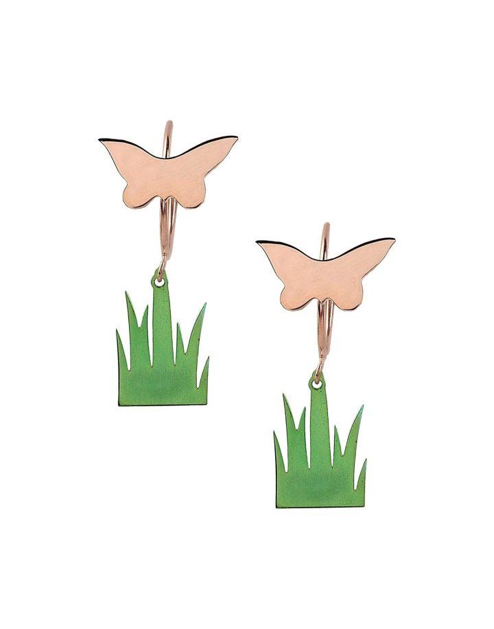 loroetu, piccoli orecchini con farfalla oro rosa e prato, small earrings, rose gold butterfly and grass