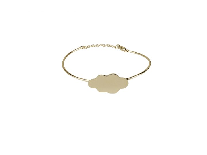 loroetu, bracciale rigido oro con nuvola, gold cloud bangle
