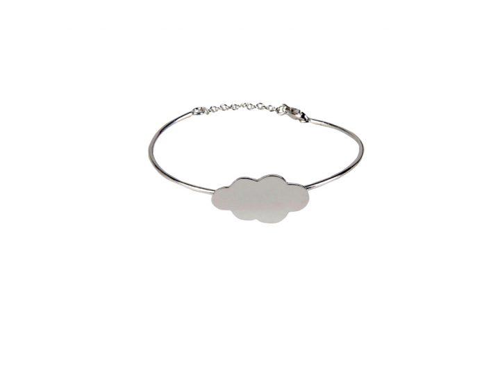 loroetu, bracciale rigido argento con nuvola, silver cloud bangle