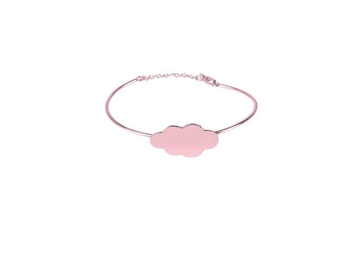 loroetu, bracciale rigido oro rosa con nuvola, rose gold cloud bangle