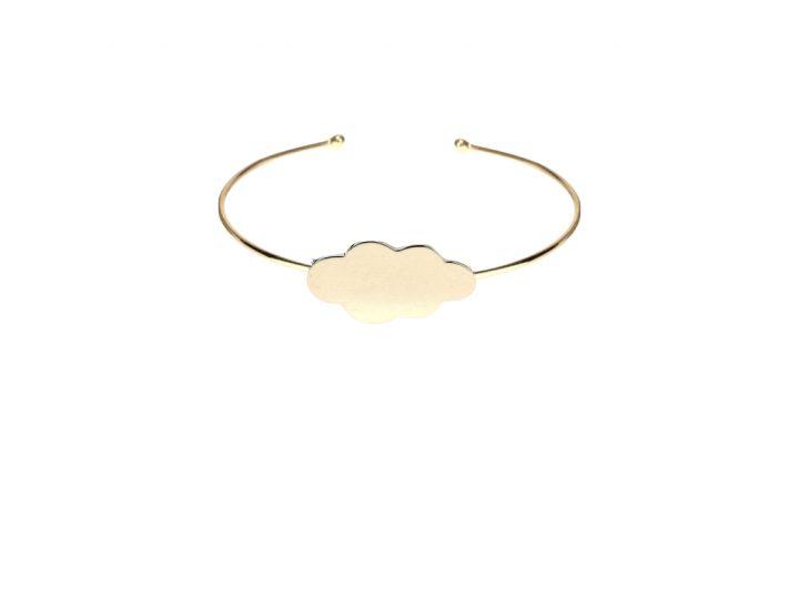 loroetu, bracciale rigido oro con nuvola, gold cloud open bangle