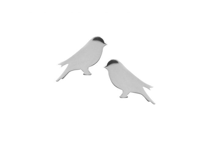 loroetu, orecchini lobo con uccellini argento, silver bird earrings