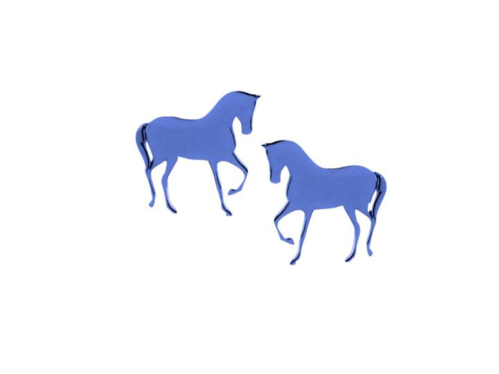 loroetu, orecchini a lobo blu con cavallo, blue horse earrings