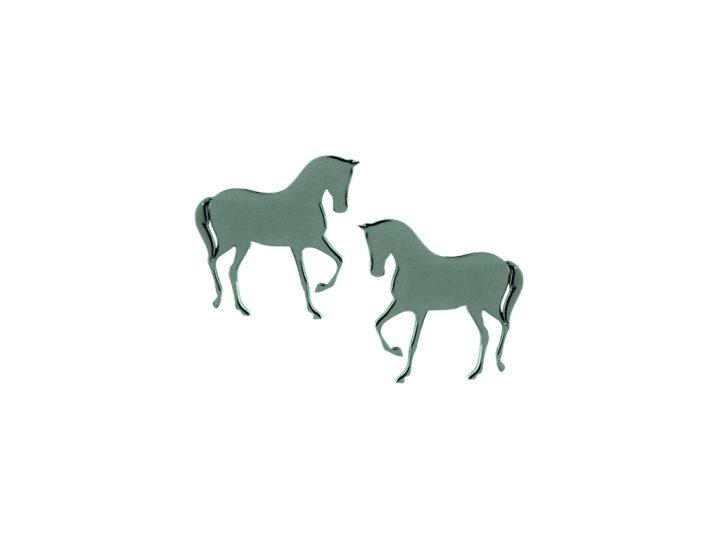 loroetu, orecchini a lobo verde scuro con cavallo, dark green horse earrings