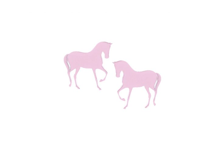 loroetu, earrings, horse, rosè, gold, silver, lobe
