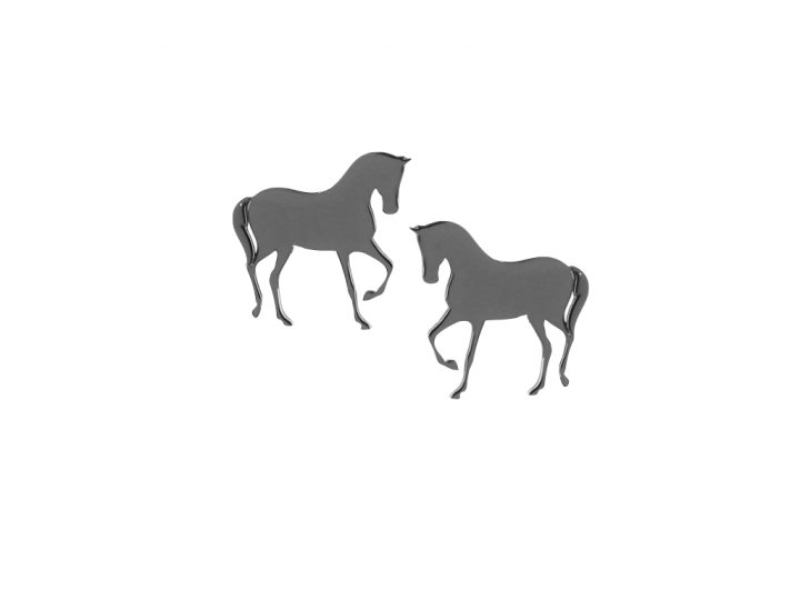 loroetu, orecchini a lobo rodio con cavallo, rhodium horse earrings