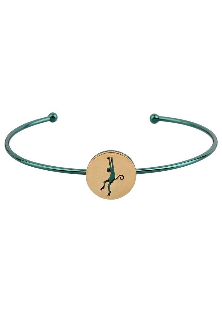loroetu, bracciale rigido verde e oro con scimmia, gold green monkey bangle