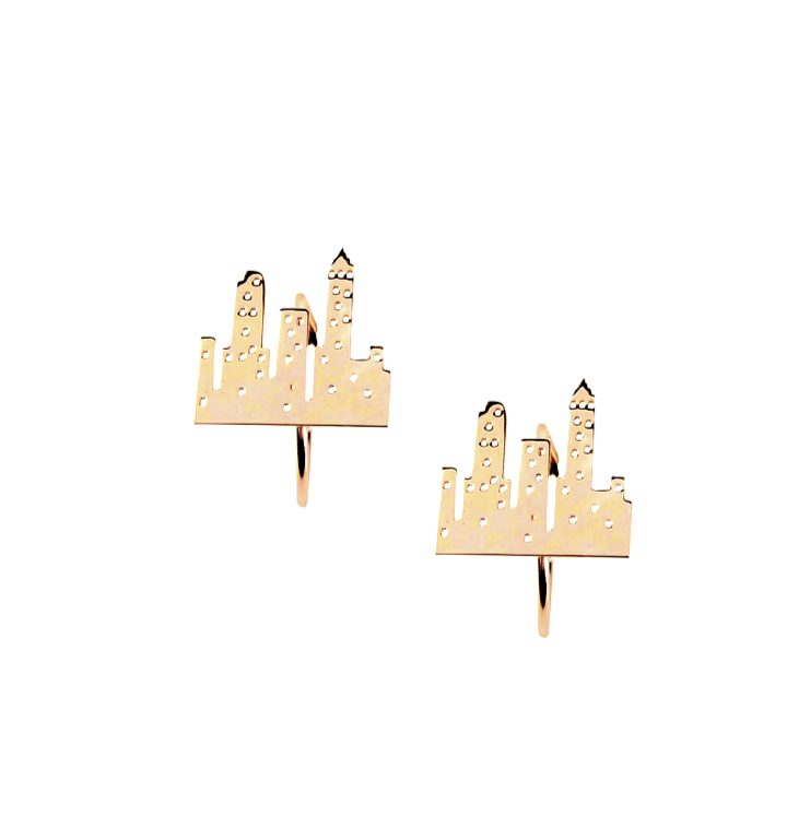 loroetu, orecchini città oro, gold city earrings