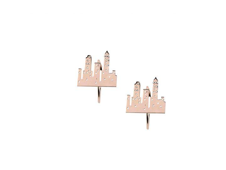 loroetu, orecchini città oro rosa, rose gold city earrings