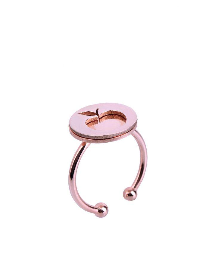loroetu, anello oro rosa con mela, rose gold apple ring
