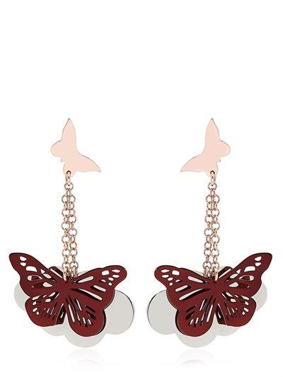 loroetu, orecchini pendenti con farfalla bordeaux sulle nuvole, bordeaux butterfly on clouds earrings