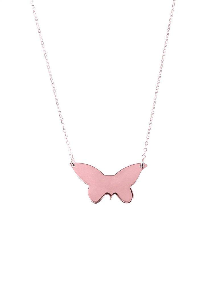 loroetu, collana farfalla oro rosa, rose gold butterfly necklace