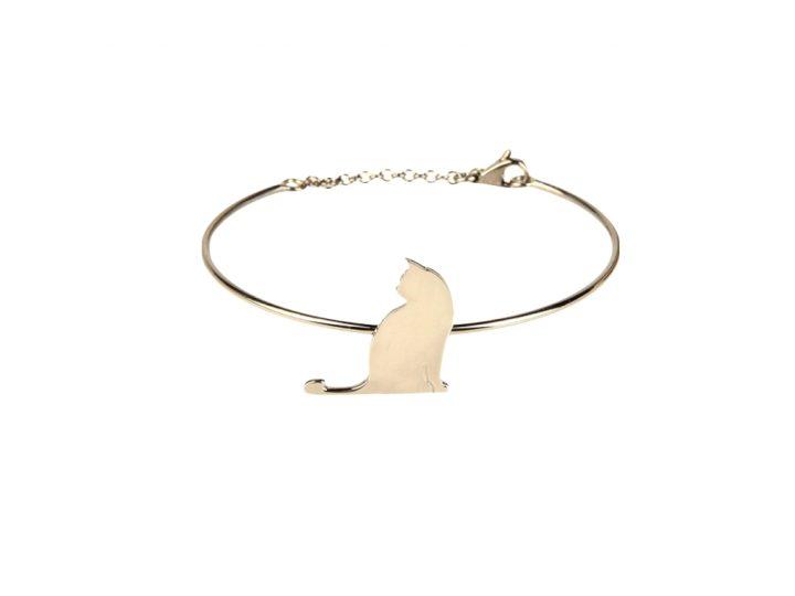 loroetu, bracciale rigido gatto oro. gold cat bangle