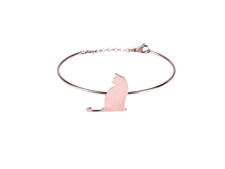 loroetu, bracciale rigido gatto oro rosa. rose gold cat bangle