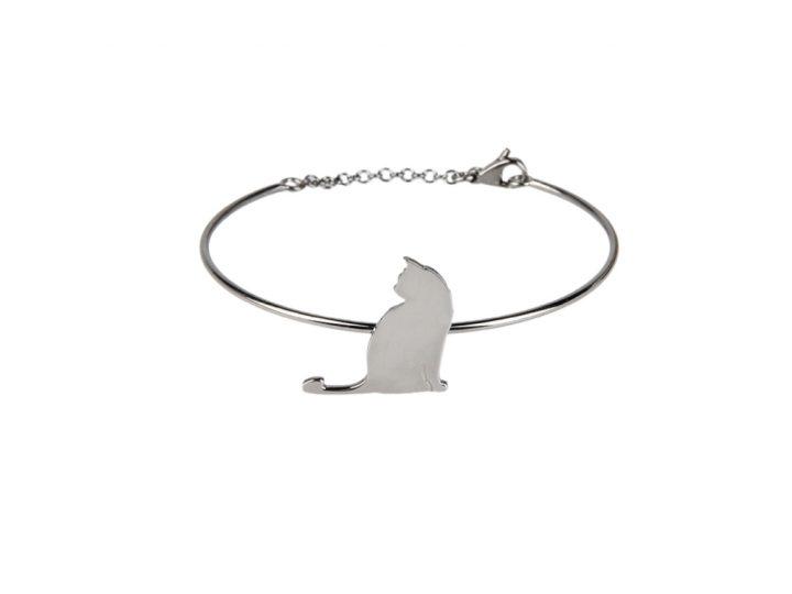 loroetu, bracciale rigido gatto argento. rose gold silver cat bangle