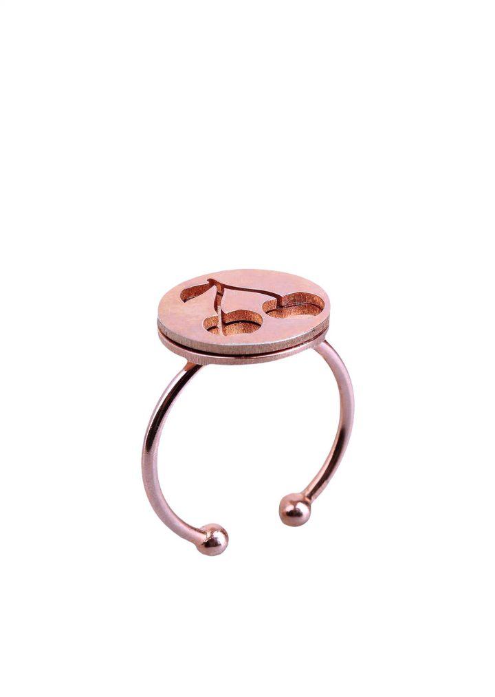 loroetu, anello oro rosa con ciliegia, rose gold cherry ring