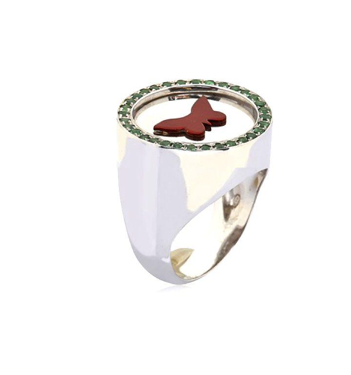 loroetu, anello chevalier farfalla, butterfly chevalier ring