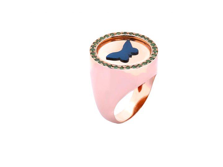 loroetu, anello chevalier oro rosa farfalla, butterfly chevalier rose gold ring