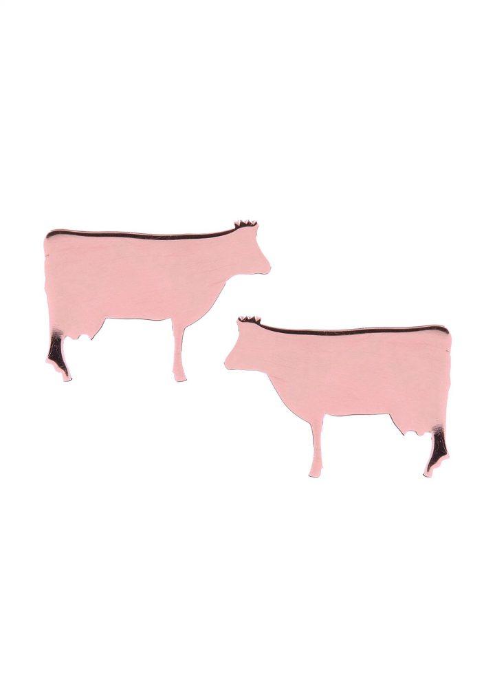 loroetu, orecchini lobo mucca oro rosa, rose gold cow earrings