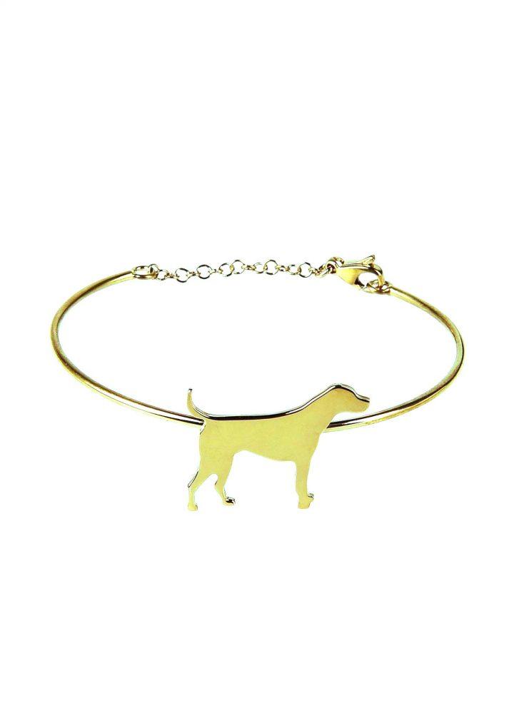 loroetu, bracciale rigido oro con cane, gold dog bangle