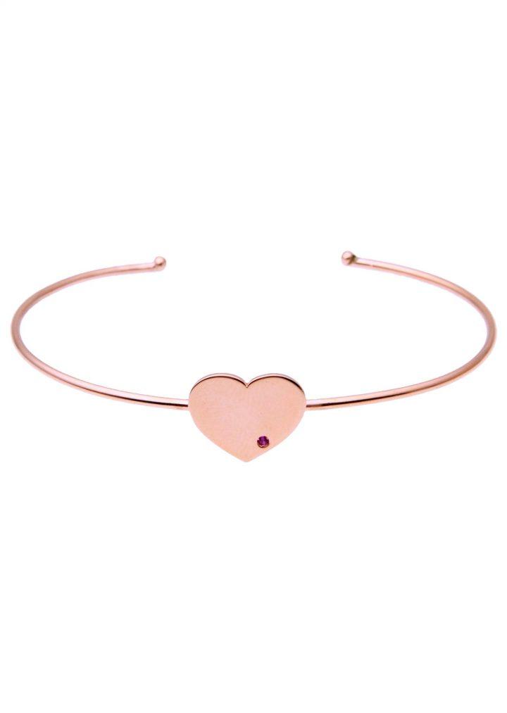 loroetu, bracciale rigido aperto oro rosa con cuore e rubino, open rose gold bangle with heart and tormaline