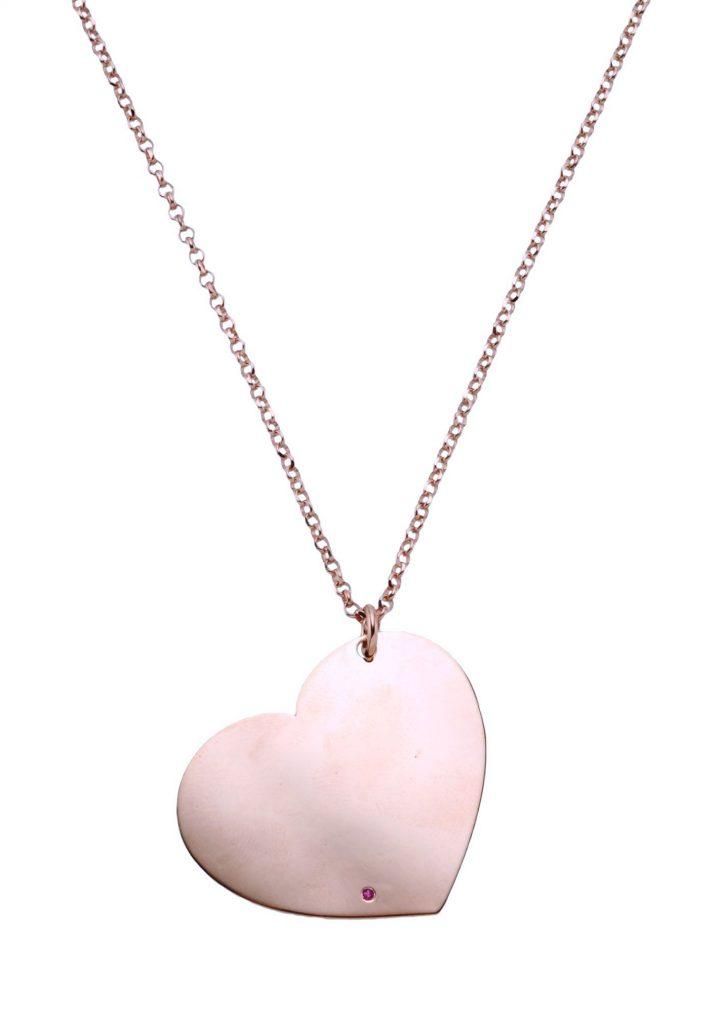 loroetu, collana oro rosa, ciondolo cuore, rubino, gold rose necklace, heart pendant, tormaline