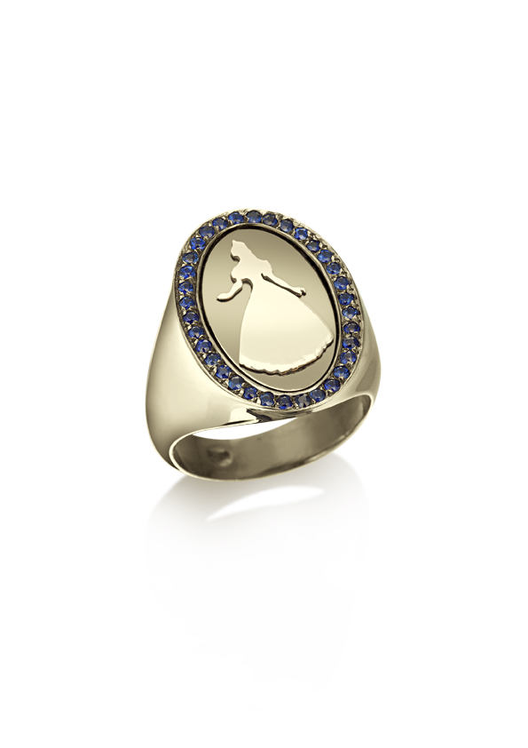 Loroetu princess bague chevalière ring little finger gold plated and sapphires